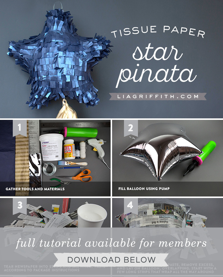 step by step photo tutorial for tissue paper star-shaped piñata by Lia Griffith