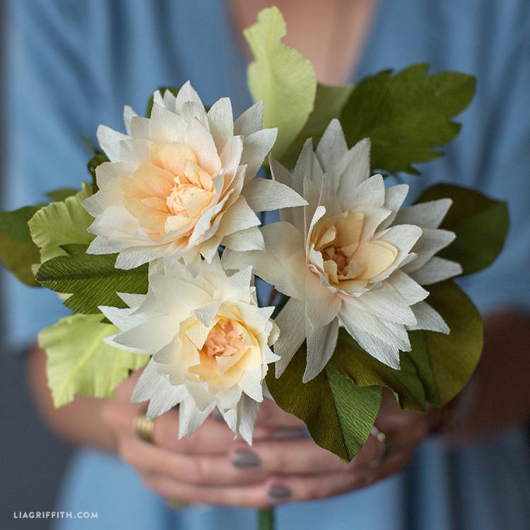 crepe paper dahlias bouquet