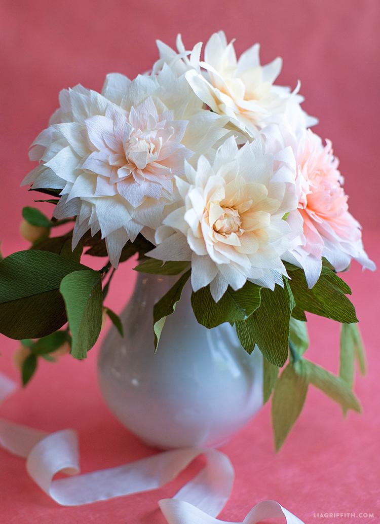 DIY crepe paper dahlias