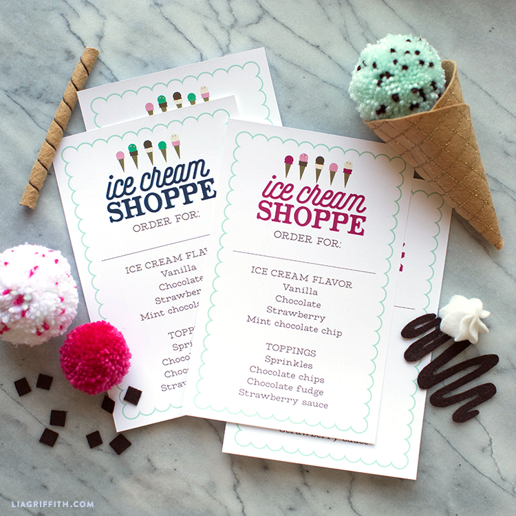 ice cream shop order forms