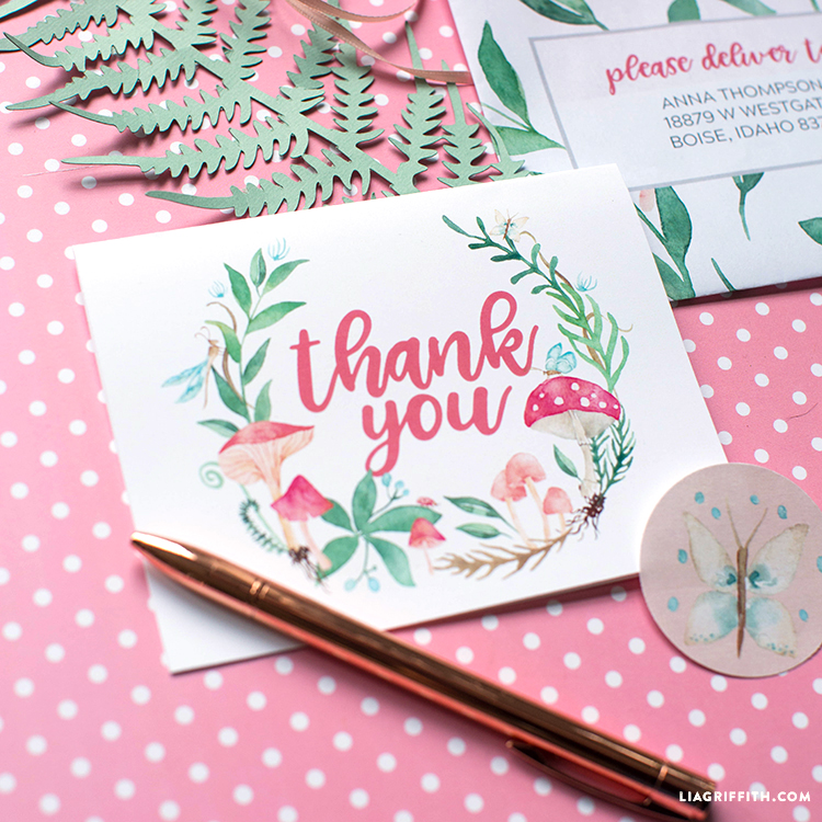 printable thank you and envelope