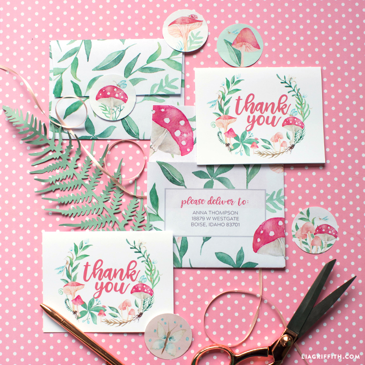 fairy garden thank you card and stickers