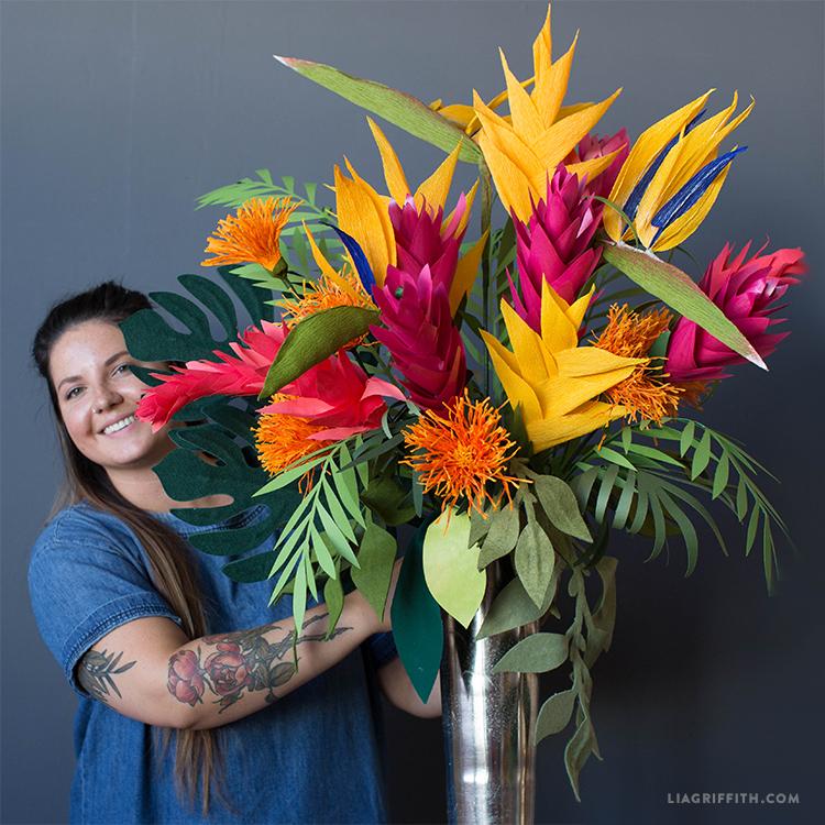 tropical paper flower bouquet