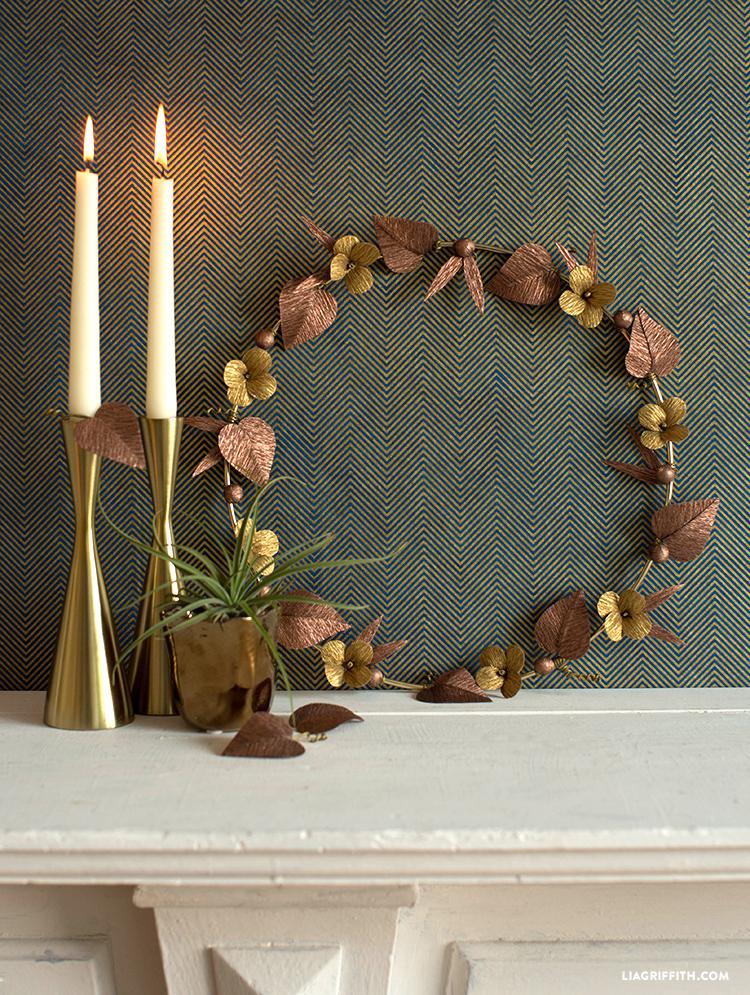 diy metallic wreath