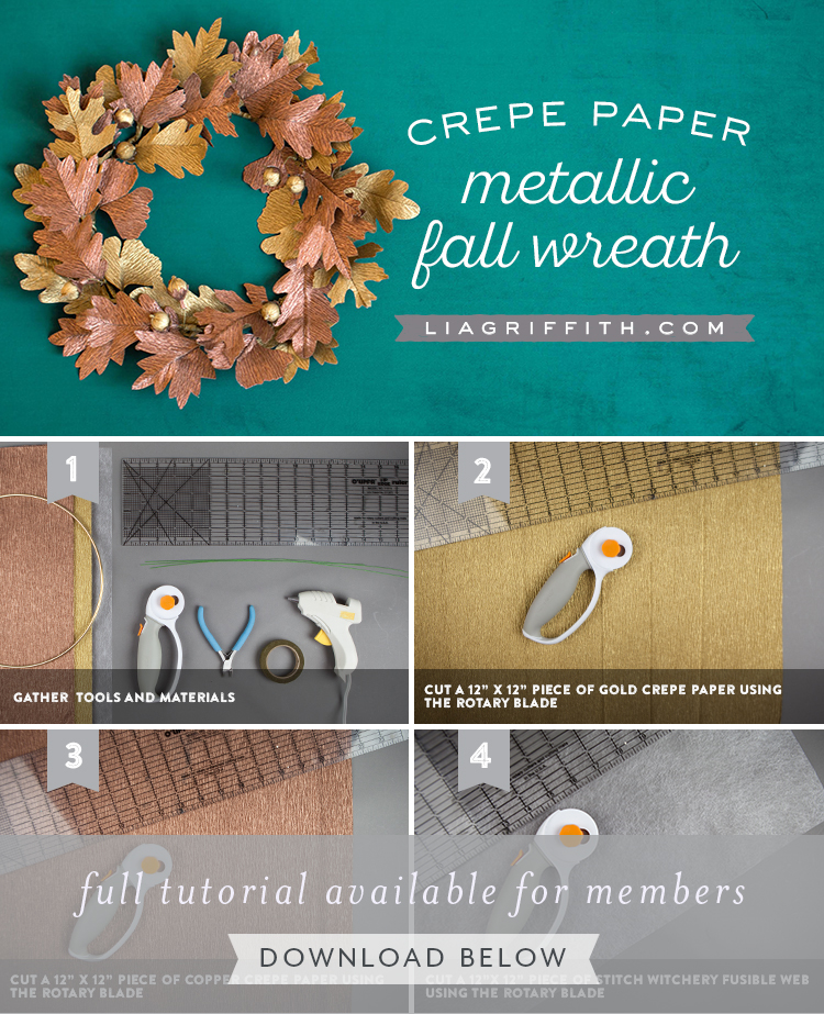 crepe paper metallic fall wreath tutorial by Lia Griffith