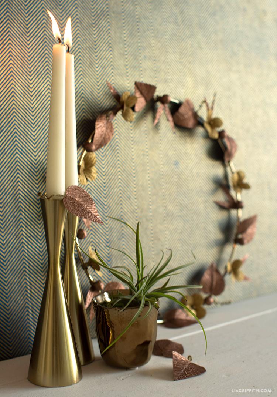 metallic crepe paper wreath