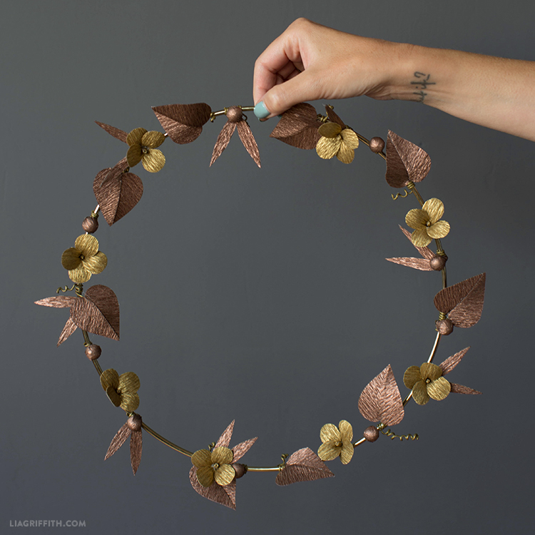 gold and copper crepe paper wreath