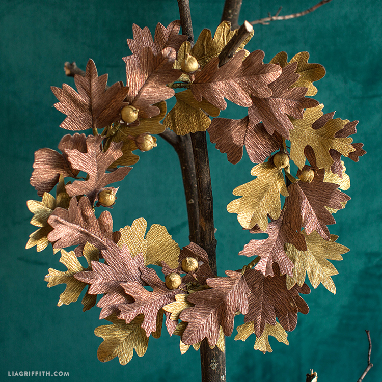 metallic crepe paper wreath