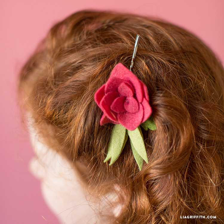 felt rose bud hair clip