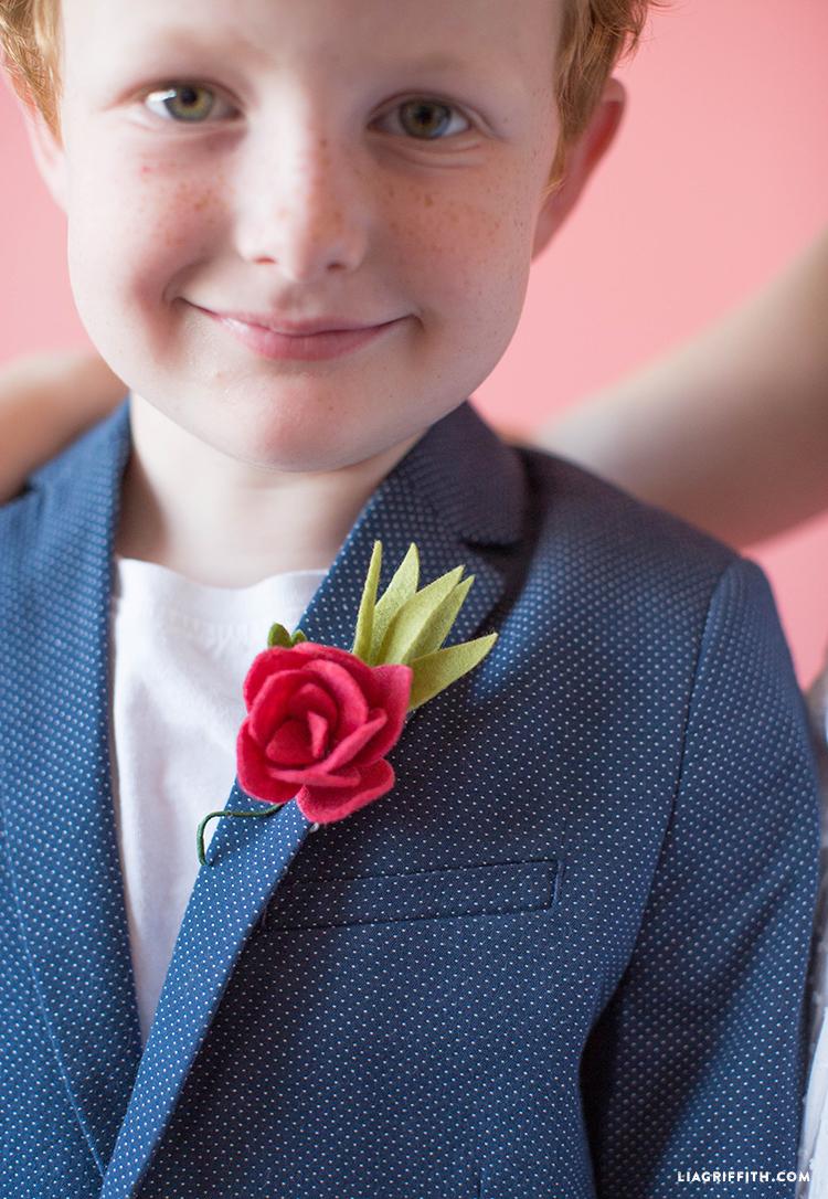 felt rose boutonniere
