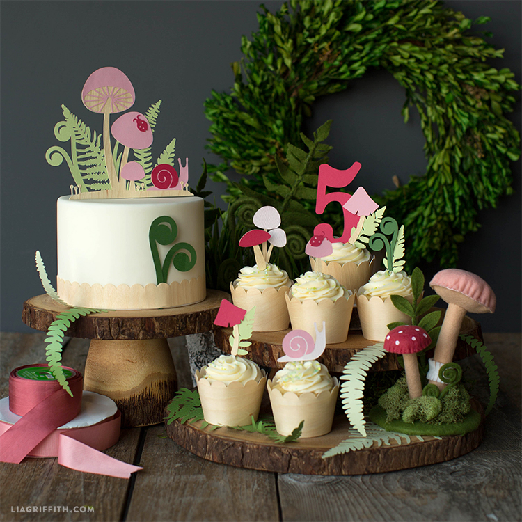 papercut woodland cake toppers