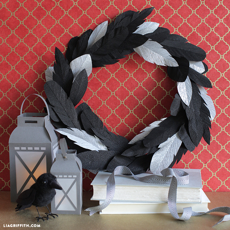 diy crepe paper feather wreath