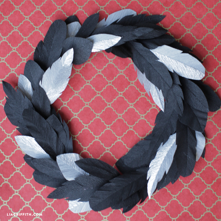 crepe paper crow feather wreath