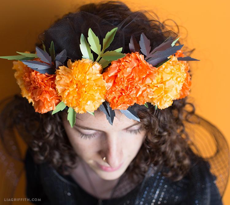 diy marigold head wreath