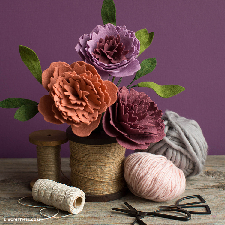 felt peonies with svg cut files