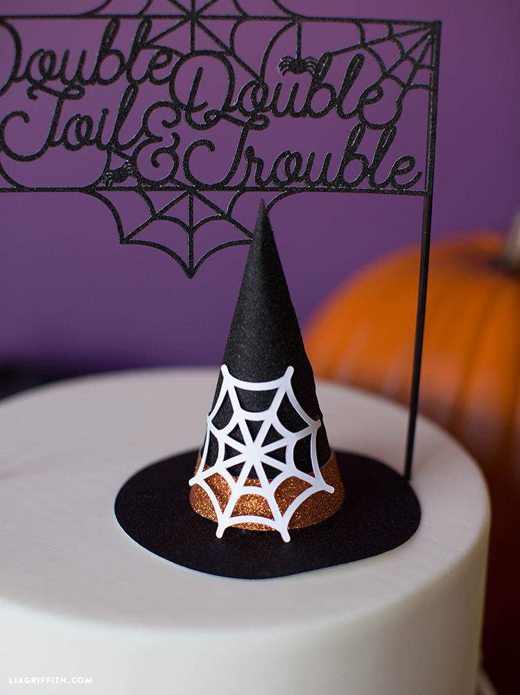halloween witch hat cake topper