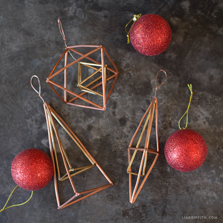 copper geometric ornaments
