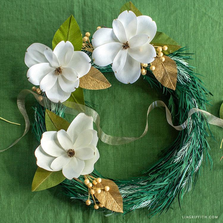 crepe paper holiday magnolia wreath