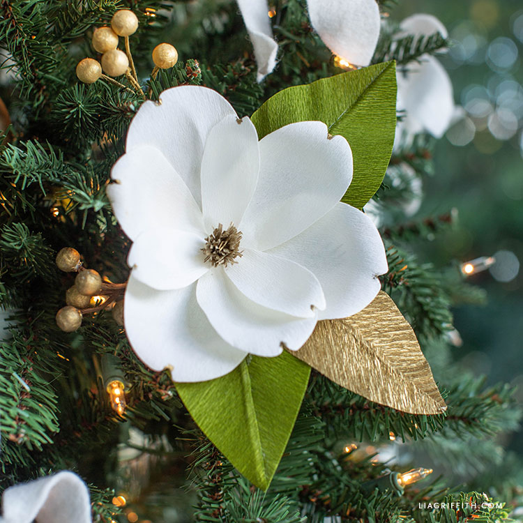 crepe paper magnolia decorations for Christmas tree