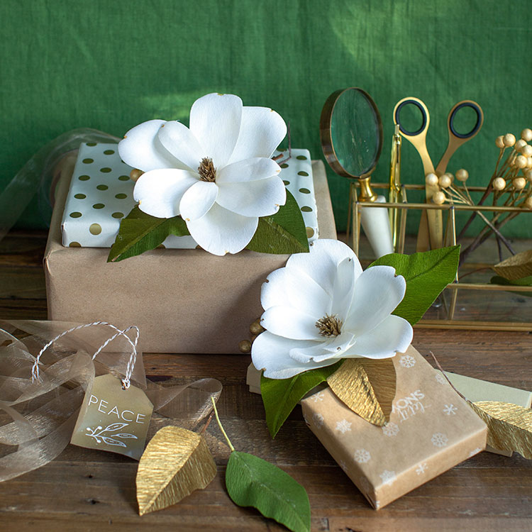 DIY crepe paper holiday magnolias