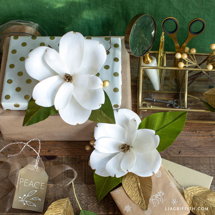 crepe paper holiday magnolia gift toppers
