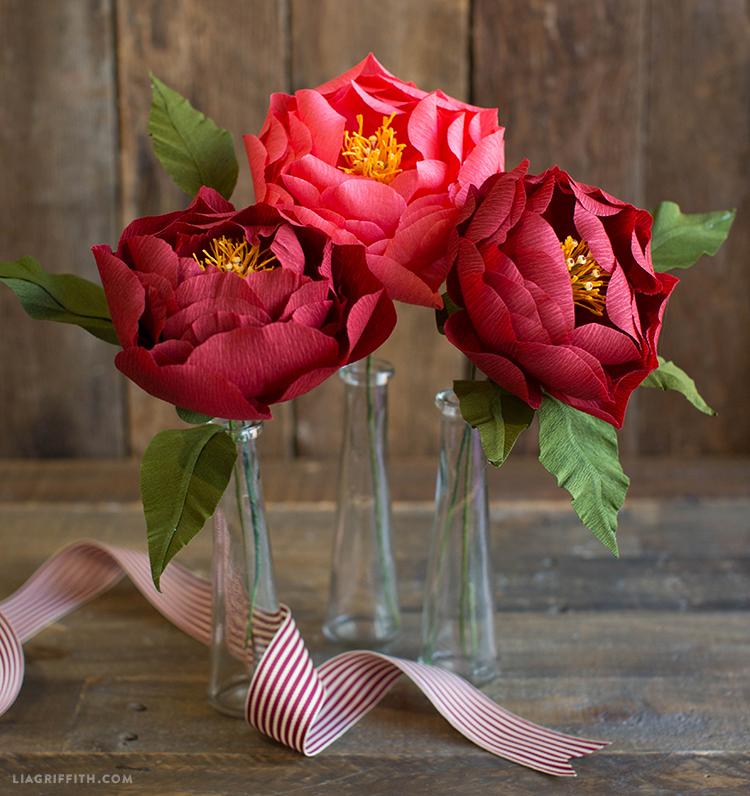 crepe paper peonies in vases