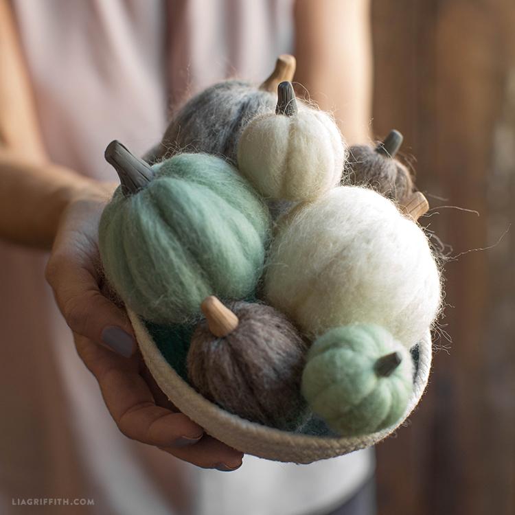 mini felted pumpkins