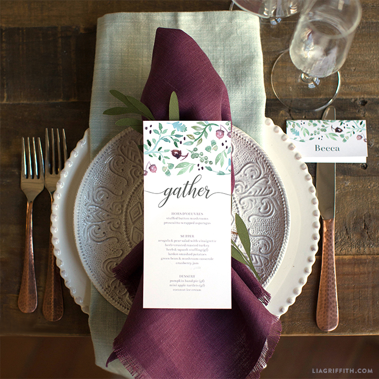 printable thanksgiving menus and place cards