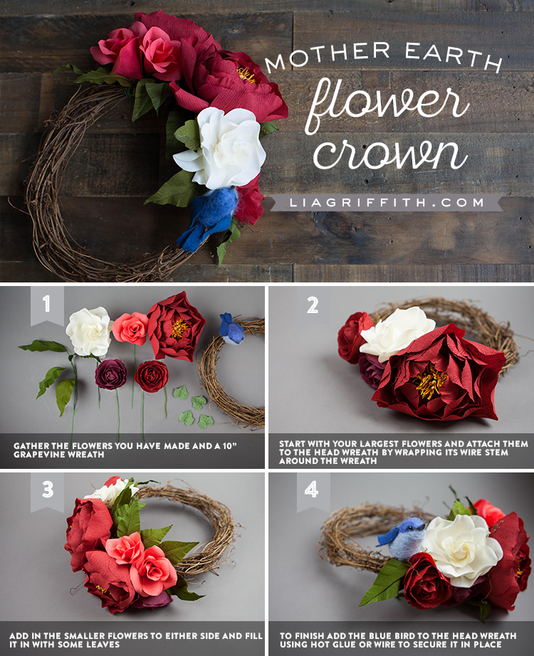 Photo tutorial for Mother Earth flower crown by Lia Griffith