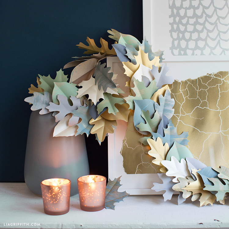 painted paper leaf garland for fall