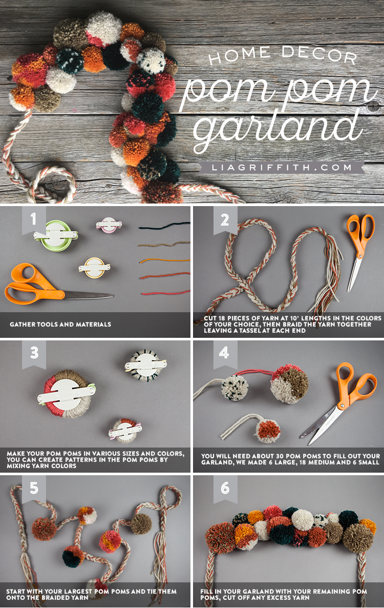 Photo tutorial for home decor fall pom-pom garland by Lia Griffith