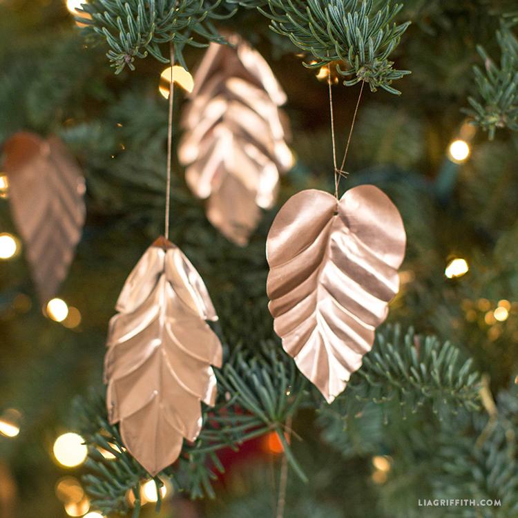copper leaf ornaments