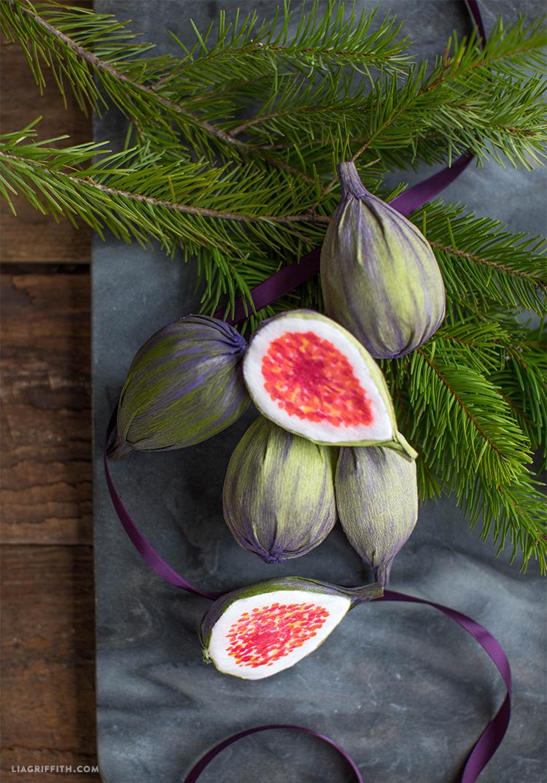 crepe paper fig ornaments