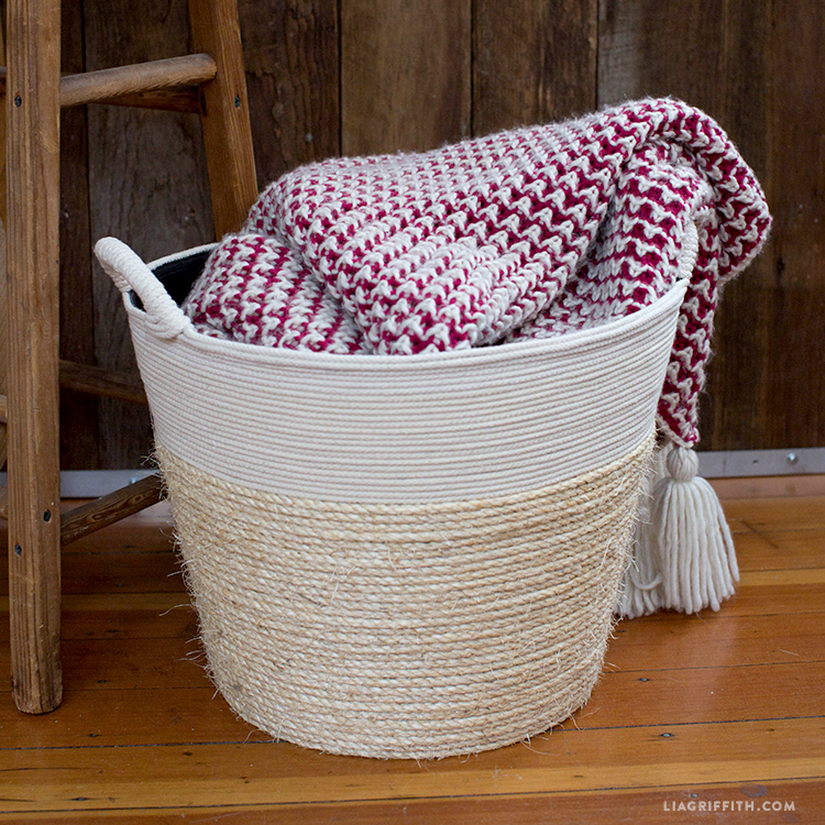 diy rope wrapped basket