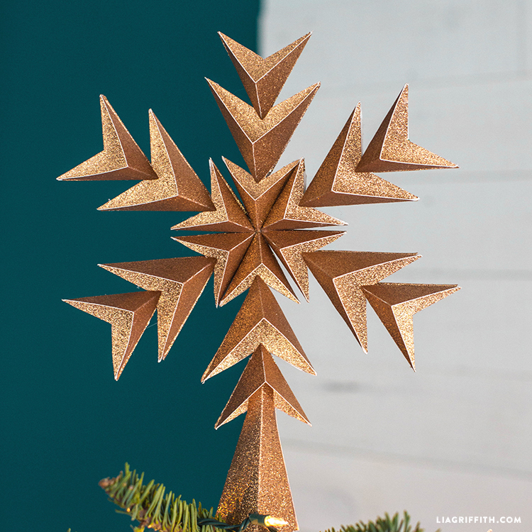 glitter paper star tree topper with geometric design