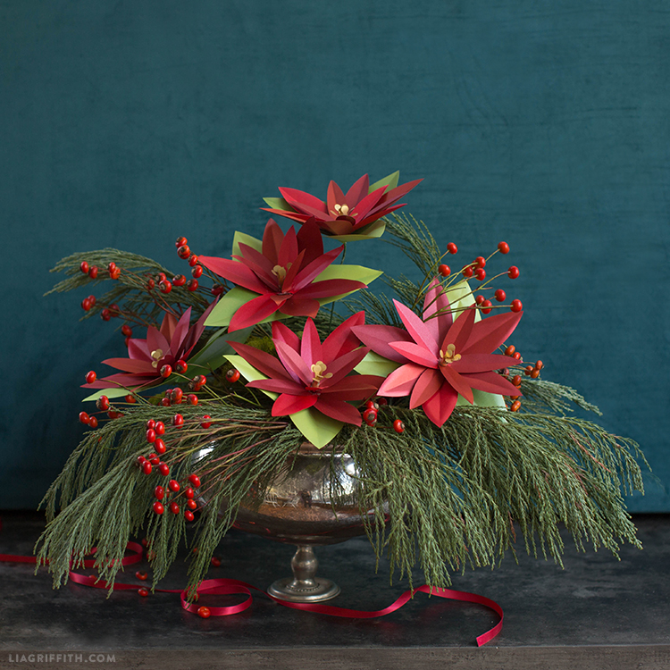 Paper Poinsettia Holiday Arrangements Lia Griffith