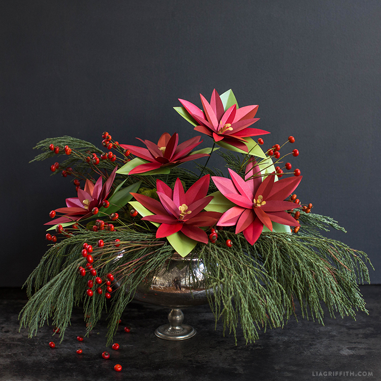 paper holiday poinsettia plant