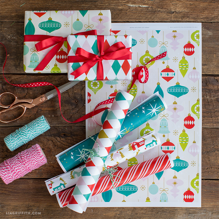 retro holiday gift wrap