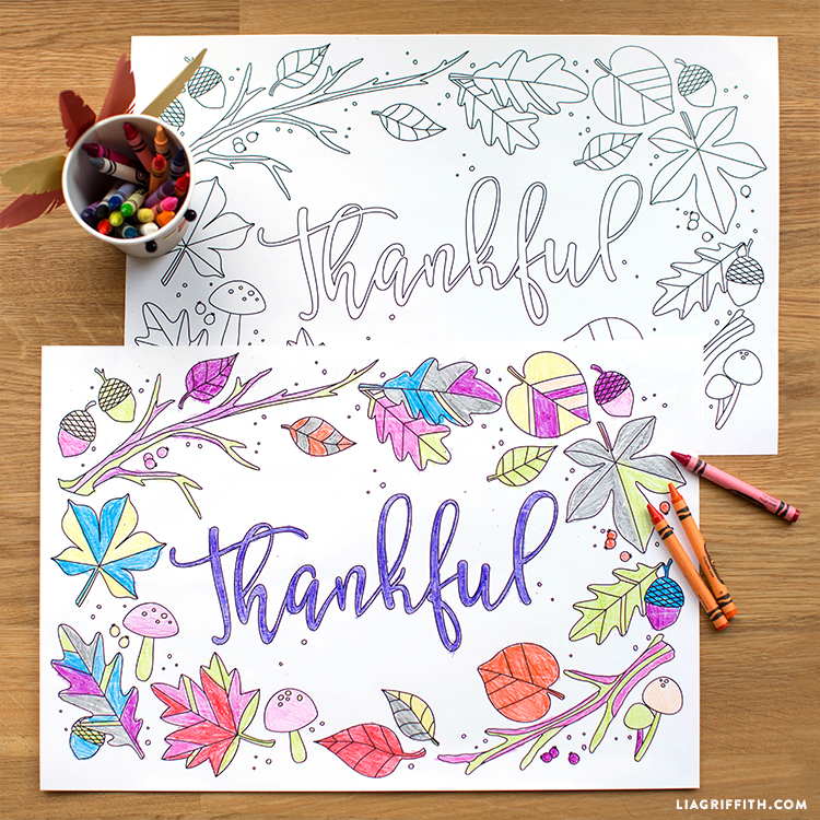 kids thanksgiving coloring placemats