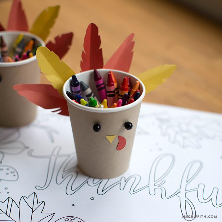 diy thanksgiving crayon cup