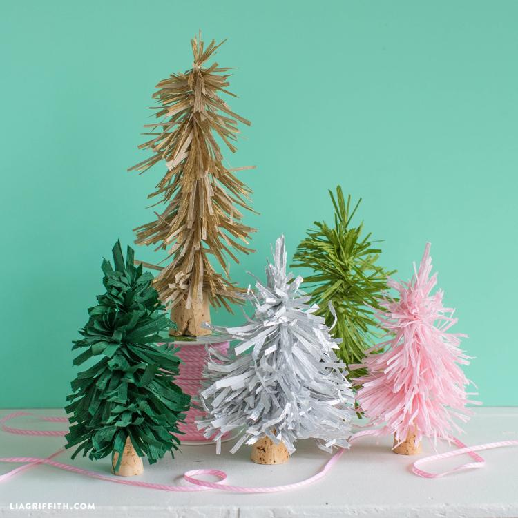 bottle brush crepe paper trees