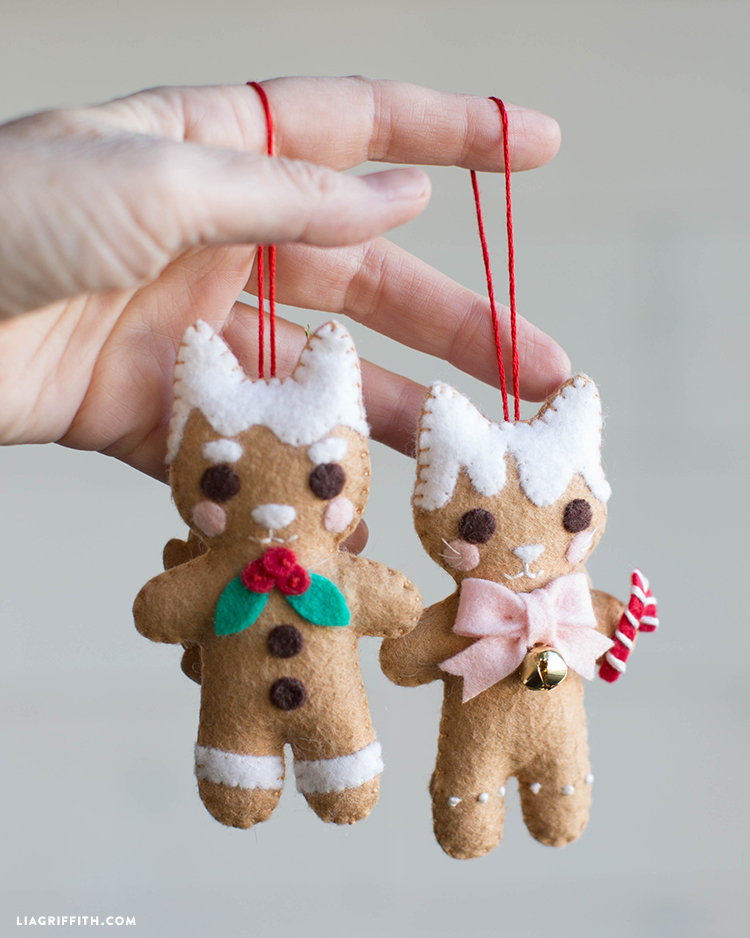 felt gingerbread cookie ornaments
