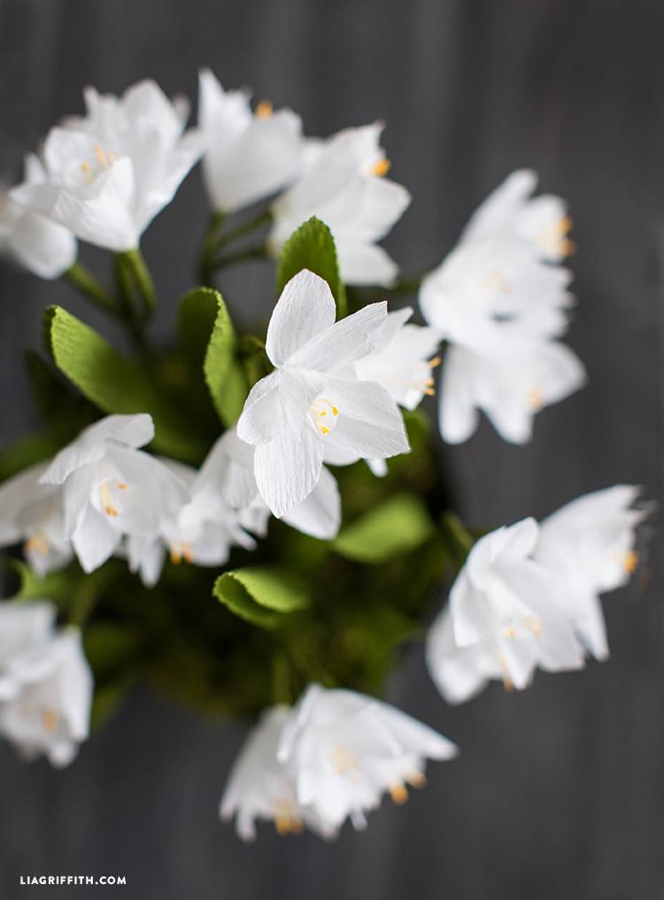 diy crepe paper paperwhite flowers