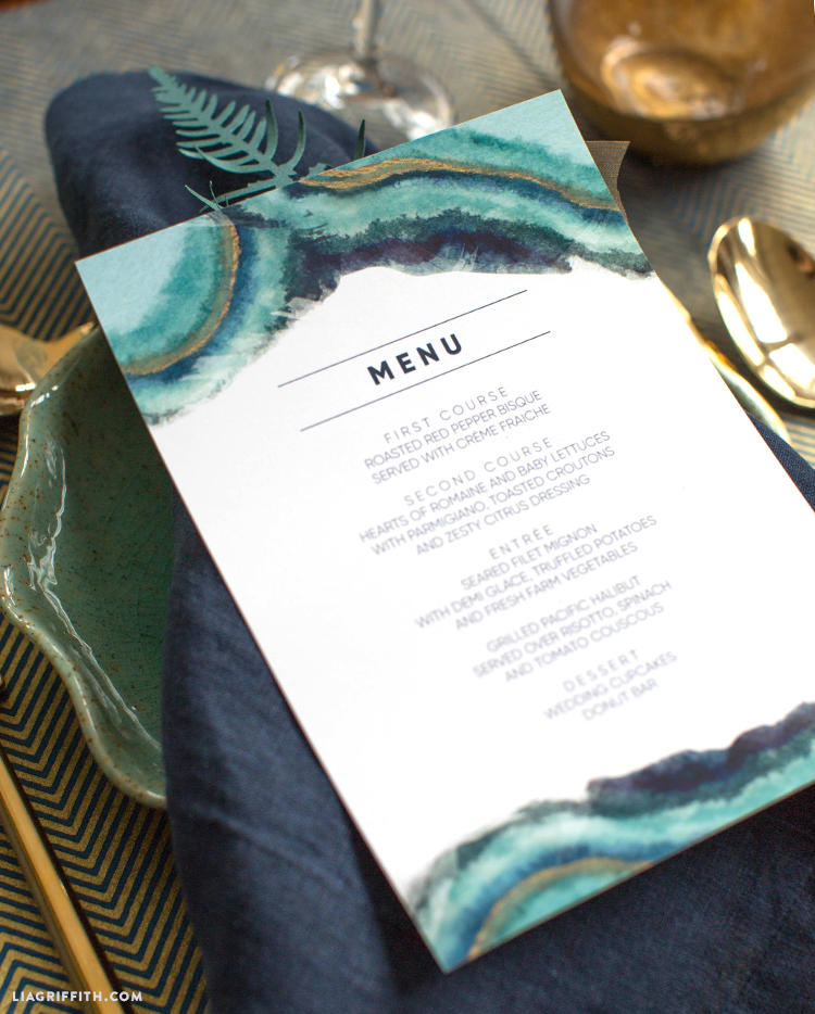printable wedding menus