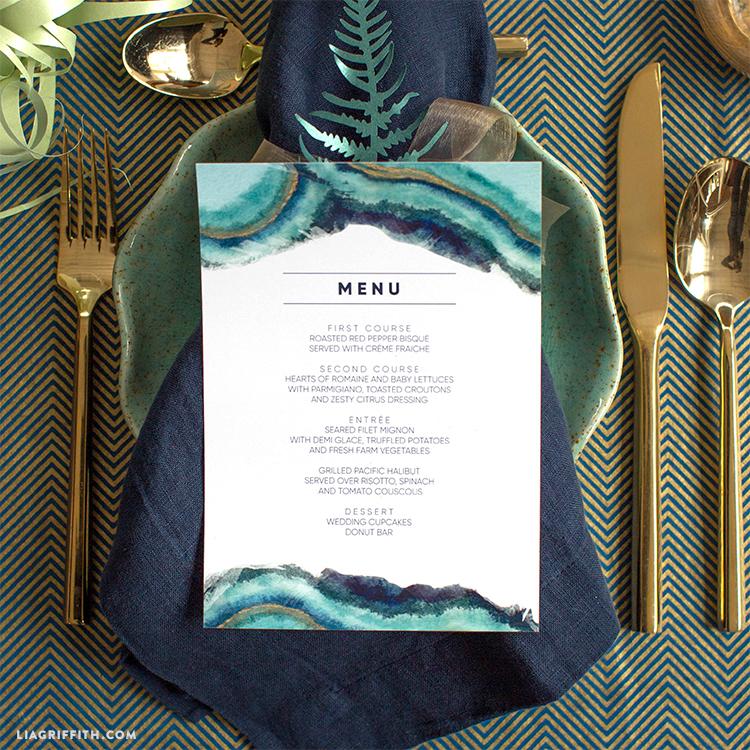 watercolor wedding menus