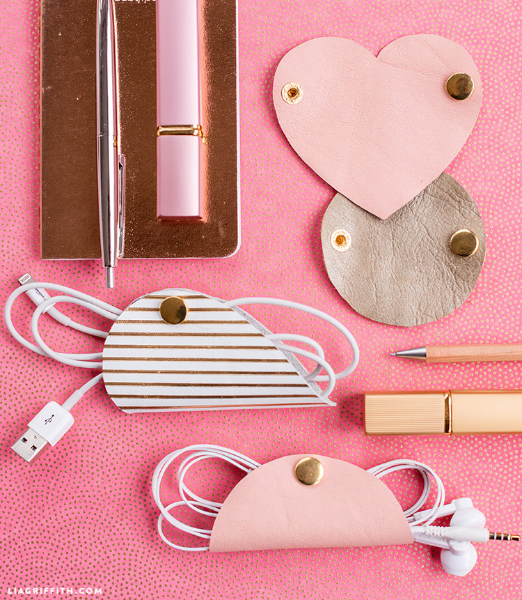 heart shaped leather cord holder