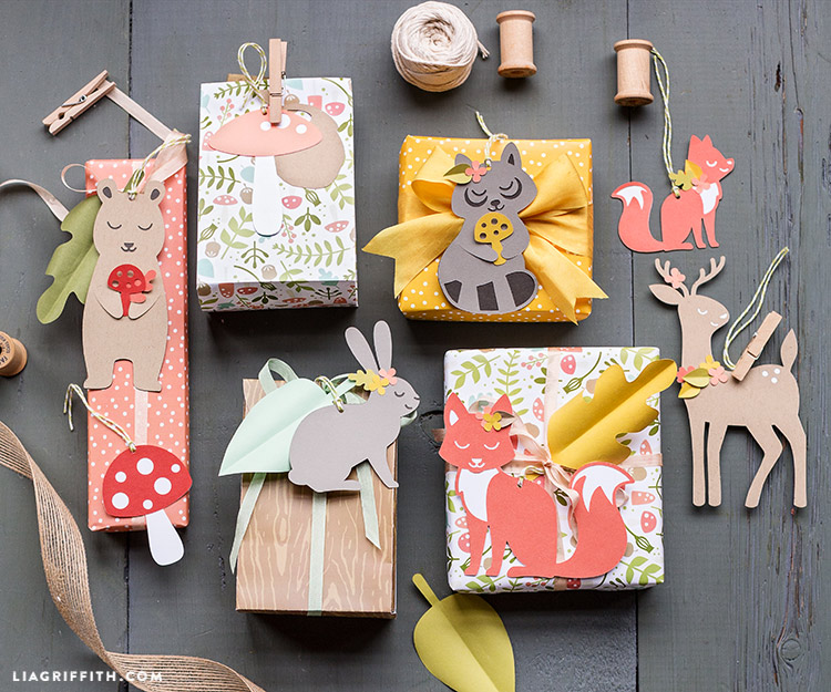 woodland gift wrap and tags