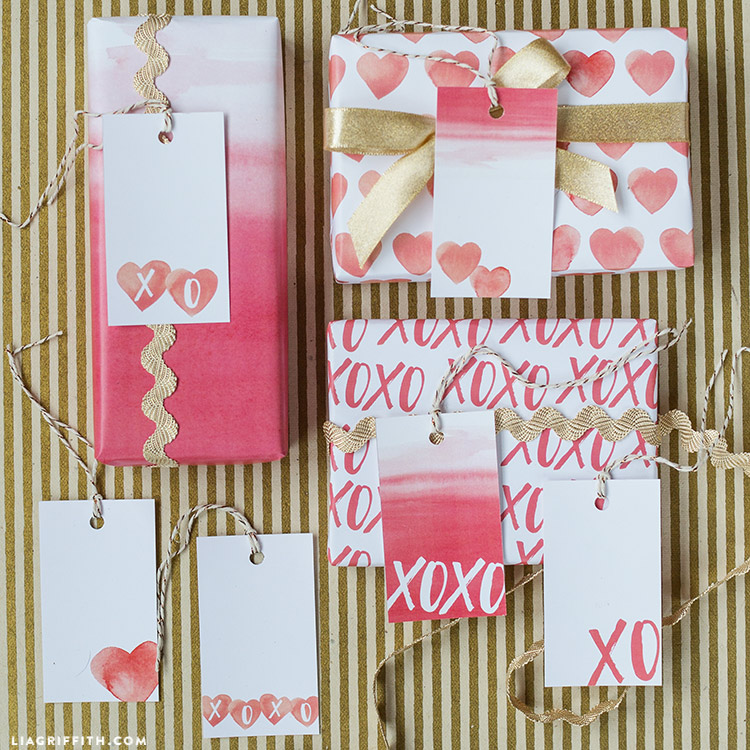 valentines day gift wrap and tags