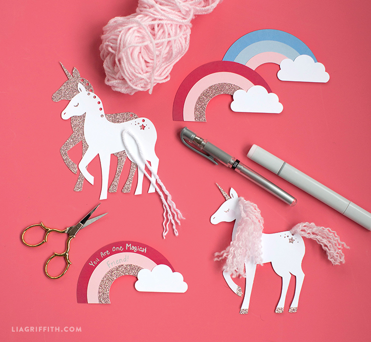 papercut unicorn valentine's tags
