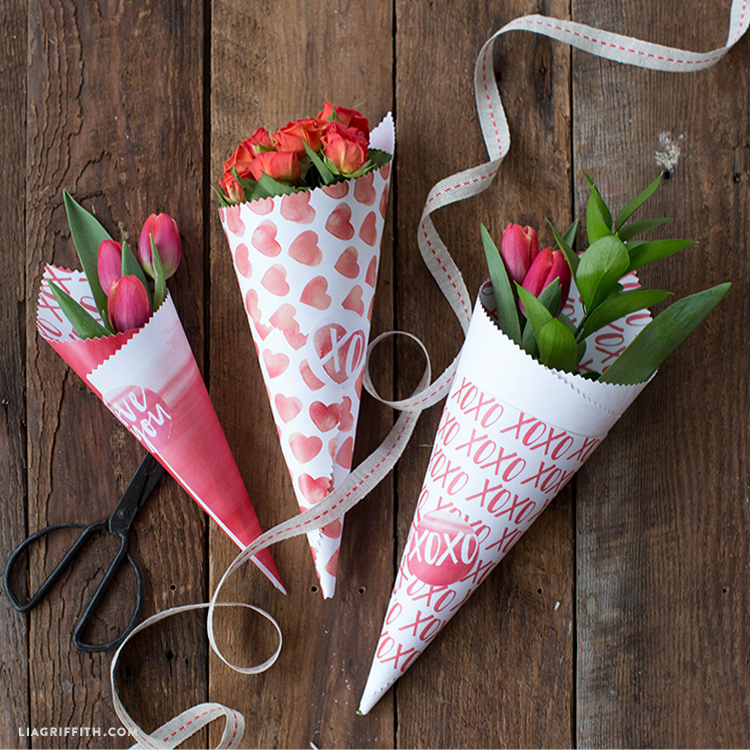 printable cones for valentine's day flowers